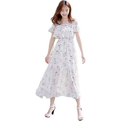 シフォン 肩出し ワンピース レディース 花柄 ドレス マキシ オフショル ワンピ(L, ホワイト)