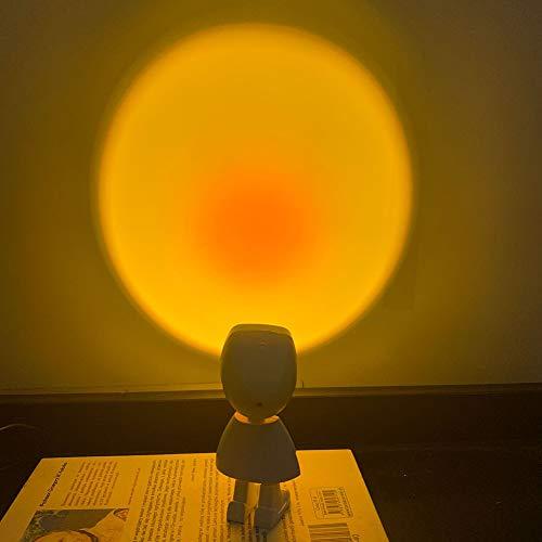JAWSEU Lámpara de proyección Sunset, Lámpara de Proyección LED, Romantic Visual Mood Lighting Lamp with USB, Rainbow Projection Lamp para Salón/Dormitorio/Oficina