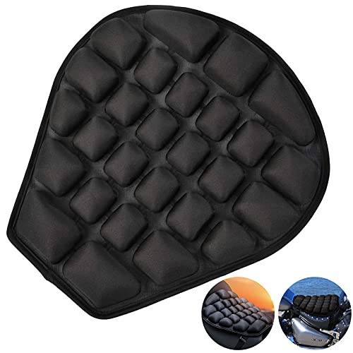 Heran Air Motorcycle Seat Cushion - Pressure Relief 3D Motorcycle Seat Pad, Water Fillable Cooling Down Motorcycle Cushion, Shock Absorption Motorcycle Air Cushion for Cruiser Touring Saddles