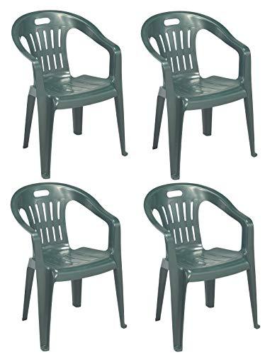 Progarden Diva Lot de 4 fauteuils en résine de Plastique Dur empilables avec accoudoirs pour Maison, Jardin, Bar, Camping Vert