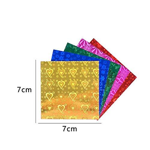 Papel Artesanal Plegable en Relieve láser Luminoso de una Cara de Origami Cuadrado Papel de diseño de decoración de álbum de Recortes Hecho a Mano para niños - 7x7cm Origami