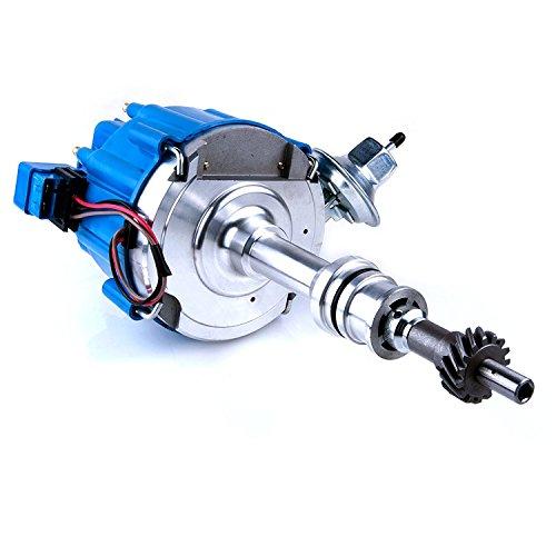MAS Ignition Distributor w/Cap & Rotor compatible with Ford 351C 351M 400 429 460 HEI 65,000 Volt Coil KA-1046013 PE332U JM6506BL 351CBLHEI0 (BLUE)