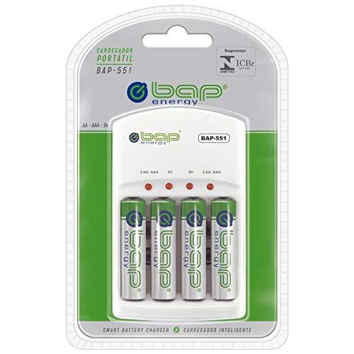 Carregador de pilhas e baterias (AA/AAA/9v) Com 4 Pilhas AA 2700 mah Bap -551 - Energy