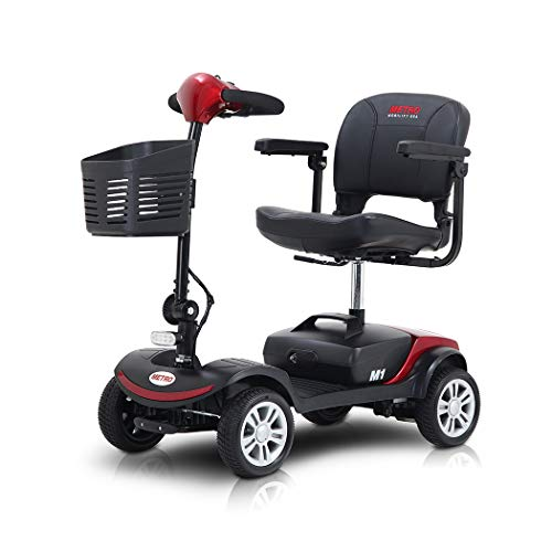 4 Wheels Mobility Scooter for Adults and Senior, Electric Motorized Scooter with LED Head Light and Stop Lamp, Folding Electric Scooter for Travel, Enhanced Battery for Long Range Driving, Red/Black