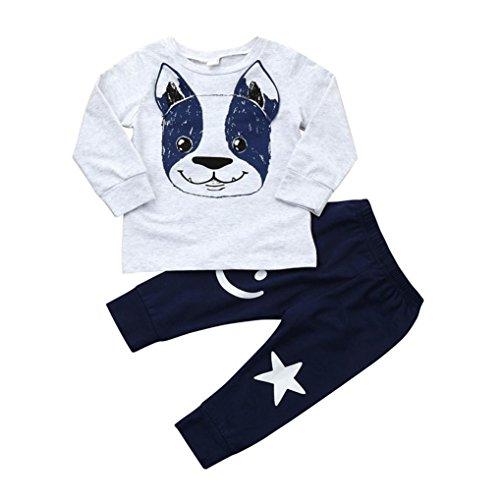 Ropa Bebe Niño otoño Invierno 2018,Fossen Recién Nacido Niño Perros Impresión Camisetas de Manga Larga + Pantalones + Sombrero,2PC/Conjunto (0-6 Meses, Gris)