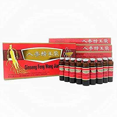 (Original) 3 Boxes Ginseng Royal Jelly Oral Liquid, Red Panax Ginseng & Royal Jelly Improves Stamina, Memory, Focus, Clarity, Immunity & Energy Support,(3x10x10ml)