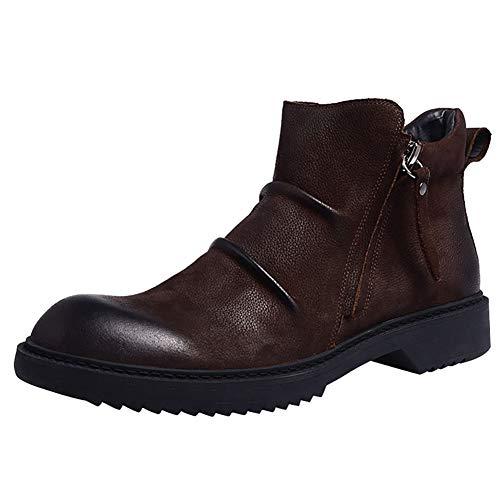 FUNSHE Herren Martin Stiefel British Style Leder Booties Frühling und Herbst Lederschuhe Retro Low Cut Armee Stiefel High Top Schuhe geeignet für Wandern Wandern-brown-EU41