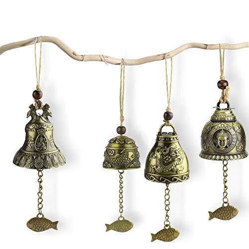 BITEFU 4 Stücke Fengshui Glocke Retro Klangspiel Windspiel Metall Wind Chimes, Meditation Buddha Tempel Gebet Glockenspiel für Glück Wand Gartendeko Hängend