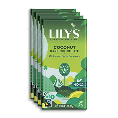 Coconut Dark Chocolate Bar by Lily's | Stevia Sweetened, No Added Sugar, Low-Carb, Keto Friendly | 55% Cocoa | Fair Trade, Gluten-Free & Non-GMO | 3 ounce, 4-Pack