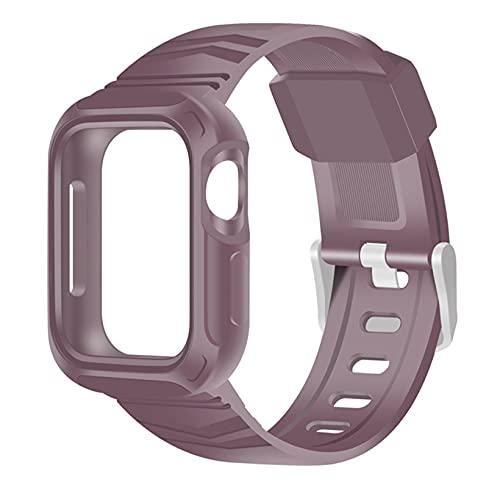 ZLRFCOK Correa transparente + funda para Apple Watch 5 Band 40 mm silicona deportiva Loop Series 6 SE 5 4 Correa 40 mm 44 mm plástico (color de la correa: rojo vino, ancho de la correa: 44 mm)