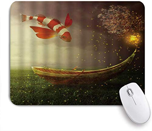 Dekoratives Gaming-Mauspad,Fantasie-Boot-Koi-Fisch-Bogen-Schiffs-Kacke mit glänzendem Laternenbaum in der Wiesen-Märchen-Nacht,Bürocomputer-Mausmatte mit rutschfester Gummibasis