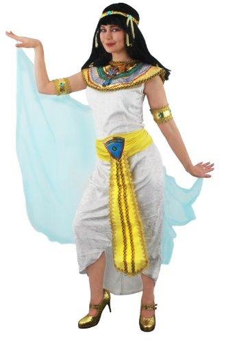 Déguisement pour femme de la Reine du Nil avec une robe + une ceinture + une collerette + bracelets + bandeau pour la tête. Idéal pour les enterrements de vie de jeune fille. ( Medium )