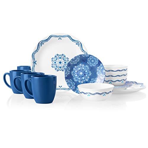 Corelle 16-Piece Dinnerware Set Service for 4, Chip Resistant, Glass, Lisbon Terrace, Vitrelle