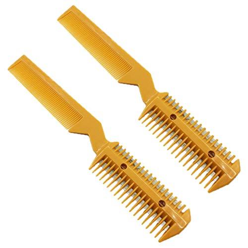 Beaupretty Peine de Corte de Pelo Tijeras de Corte de Doble Lado Peine de Afeitadora de Peluquería Peine Recortador para Salón 2 Piezas (Amarillo)