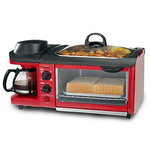 Zixin Desayuno - máquina de la Parrilla Tostadora Tostado Tres en Uno Multiuso, Resistente a Altas temperaturas, la Temperatura Constante for Hornear Antiadherente Pan (Rojo)