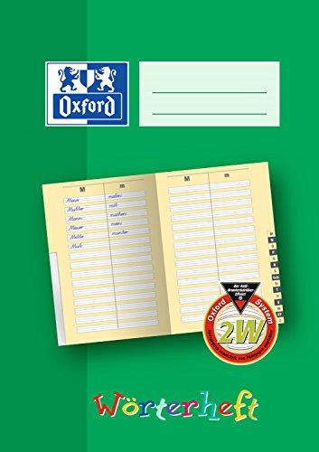 OXFORD 100059868 Wörterheft Schule 10er Pack 2W A5 28 Blatt Schulheft mit Register grün