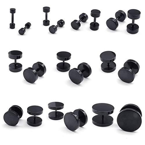 Vrttlkkfe 2 pares de pendientes de joyería para hombre, de acero, negro 8 mm, 6 mm