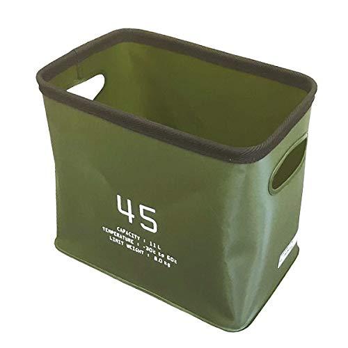 SLOWER 折りたたみ 収納ボックス 11L (ハングストックS/カーキ アウトドア バケツ カゴ 防水 コンパクト EVA キャンプ レジャー 釣り ストレージボックス バスケット おしゃれ ソフト 四角 アメリカン雑貨