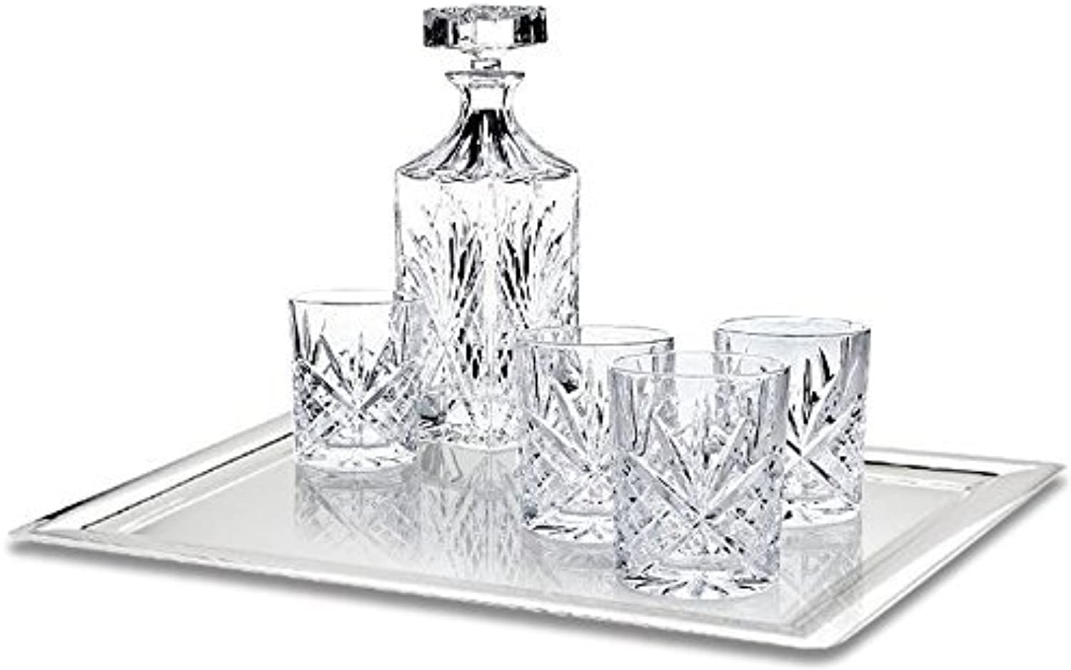 James Scott 6-Piece Crystal Whiskey Decanter Set - Lead Free Elegant Decanter with Beautiful Stopper and 5 Exquisite Old Fashioned Glasses   Packaged in an Exclusive Gift Box