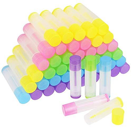 ProLeo 50 Stück Leer Lippenstift Lippenpflege Leere Behälter 5g, Leerer Lippenbalsam Behälter Farbig Hülsen für Lippenbalm, selbstgemachten Balsam, DIY Kosmetik