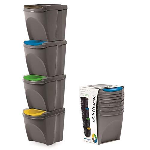 Cubo de basura de plástico con tapa abatible de 20 litros