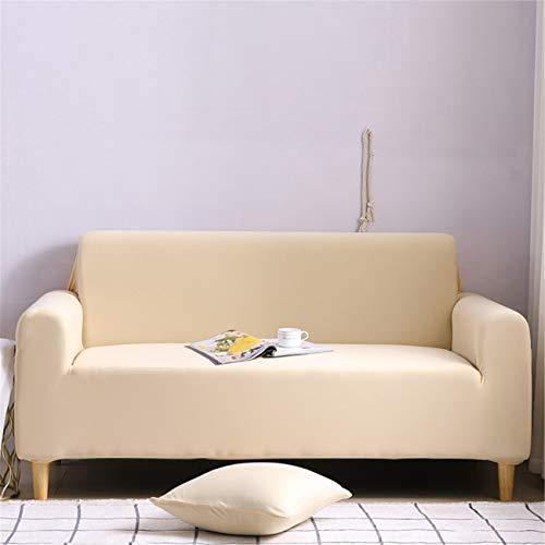 YANRR - Funda para sofá de 1/2/3/4 plazas, suave, antideslizante, color sólido, protector de muebles de sofá de fácil ajuste, tela elástica, color beige, 2 plazas