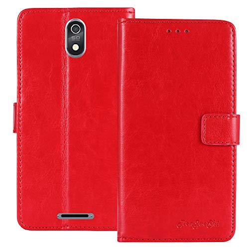 TienJueShi Rot Retro Flip Stand Brief Leder Tasche Schütz Hülle Handy Handy Hülle Für TP-Link Neffos C7 Lite 5.45 inch Abdeckung Wallet Cover Etui