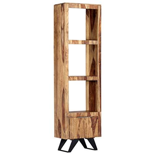 vidaXL Sheeshamholz Massiv Highboard mit 1 Tür 3 Regalböden Vitrine Standvitrine Bücherregal Schrank Weinschrank Standregal Holzregal 45x28x180cm