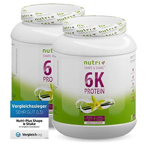Protein Vanille 2kg - 82,4% Eiweiß - Proteinpulver - 6-Komponenten Eiweißpulver - Nutri-Plus Shape & Shake ® Pulver ohne Laktose und Milch - 2000g