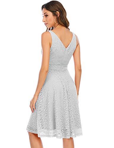 Bbonlinedress Abendkleider elegant für Hochzeit Kleid Violet Damen Damen Knielang cocktailkleid Damen Abendkleider lang Spitzenkleid Damen Rockabilly Kleid Grey 2XL