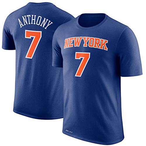 TGSCX NBA York Knicks 7# Anthony, Transpirable y Vestir Uniforme de Baloncesto, Gimnasio de Deportes de la Camiseta Camiseta de Juego, de Las Estrellas Aficionados neutrales Mangas Cortas,XL