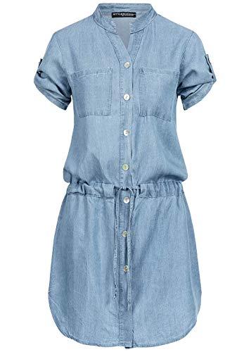 Styleboom Fashion® Damen Kleid Denim Turn-Up Dress Buttons 2-Breast Pockets hell blau, Gr:S