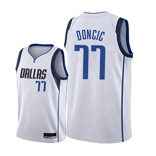 JQER # 77 Luka Dončić Dállās Mávērǐcks Men's Basketball Jerseys, Juventud al Aire Libre Transpirable Secado rápido Sin Mangas Uniformes Deportivos Repetible Limpieza Mejo White A-XL