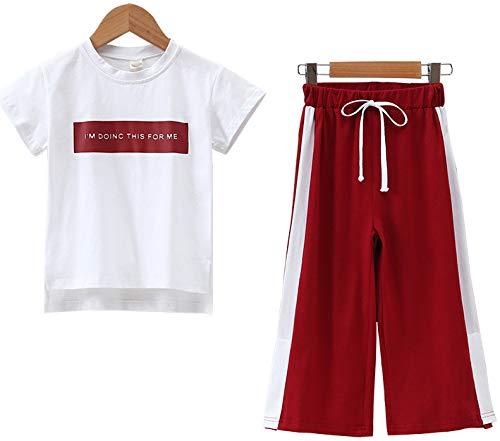 ZRFNFMA Chicas Verano de Pierna Ancha Pantstwo-piece Trajes de los niños de moda Trajes grandes de moda de los niños Trajes para niños o niñas rojo-120cm