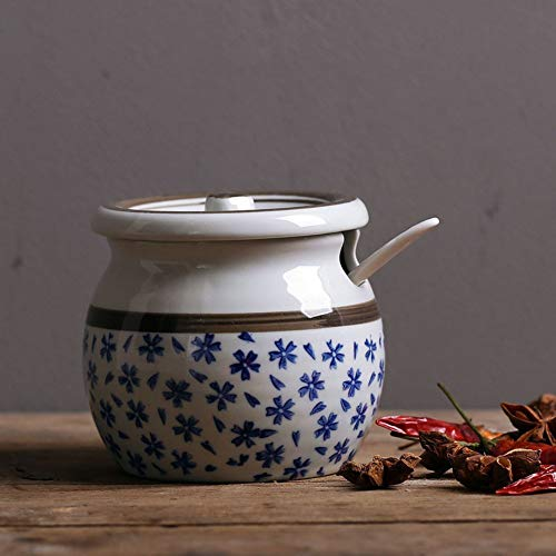 Cxmm Vasetto di condimento Giapponese Antico in Porcellana Ampolla di Cucina Creativo Ampio Shaker Ciotola per Lo Zucchero Contenitore per Lo stoccaggio in Ceramica Vasetto per spezie in Ceramica