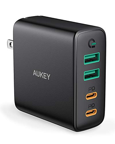 AUKEY USB C Charger, 48W 4 Port Fast Charging Adapter with Power Delivery, Foldable Wall Charger with 45W USB C Port Compatible with MacBook Air, USB C Laptops, iPhone 11 Pro Max, iPad Pro and Switch