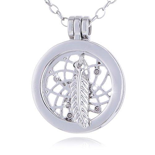 Morella Damen SMALL Coin 23 mm Halskette Edelstahl 70 cm Traumfänger mit Feder und Perle Silber mit Schmuckbeutel