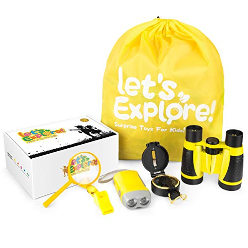 Outdoor Exploration Kit - Gifts Toys for 3-12 Years Old Boys Girls ,Adventure Explorer Toys Set-Binoculars,Compass,Magnifying Glass ,Camping Hiking Educational Pretend Play for Kids Birthday Present