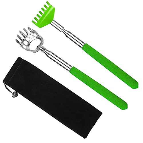 2 Pack Portable Extendable Back Scratcher - backscratchers for Adults extendable - Metal Stainless Steel Telescoping Massage Tool with Carrying Bag