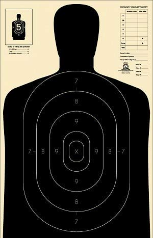 Official NRA B-27E Paper Shooting Targets, Silhouette, 23'x35', 50 Yards Police Target (Black, 30)