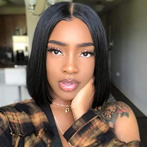 Bob Straight Wig 13X4 Lace Front Wigs Human Hair with Pre Plucked Hairline Original Queen Human Hair Wigs for Black Women Natural Color 10inches