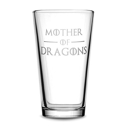 Integrity Bottles Premium Pint Glass, Mother of Dragons, Hand Etched 15.3 oz Beer Glass, Made in USA, Mixing Gifts, Sand Carved