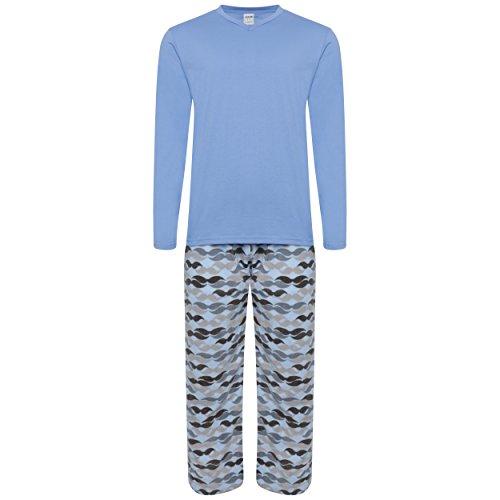 Pijama hombre, forro abrigado azul Mid Blue / Mustache