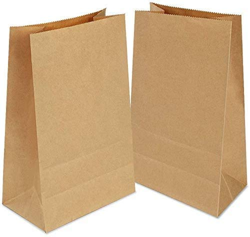 Gaoyong 100 PZ Sacchetti di Carta 12x7x21.5cm Sacchetti Carta Kraft,Sacchetti Carta Alimenti,Sacchetto Pane,Sacchetti Pane Marrone,Sacchetti Asporto per Popcorn Ortofrutta Semi Caramelle