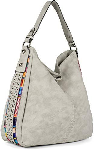 styleBREAKER Damen Hobo Bag Handtasche aus Kunstleder mit seitlichen Boho-Verzierungen, Shopper, Schultertasche 02012355, Farbe:Hellgrau