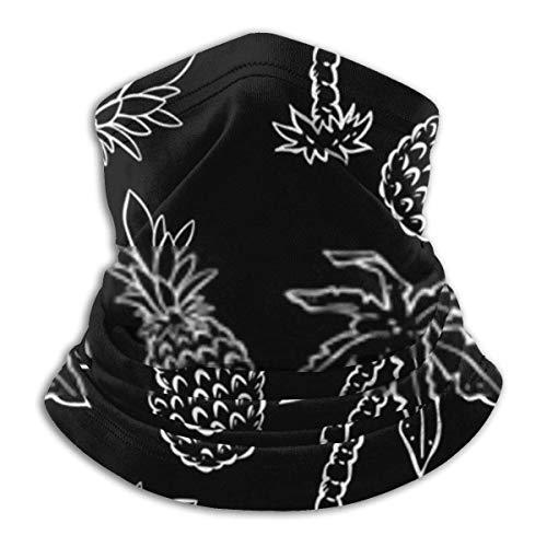 Lawenp Cubierta suave, palmeras de coco tropical y piñas en blanco y negro Gran polaina de cuello para otoño/invierno, esquí, paseos, senderismo, motos, ciclismo, paseadores de perros