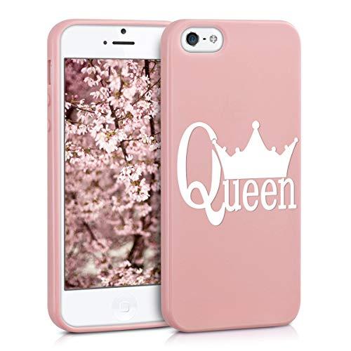 ZhuoFan Cover iPhone 5, Custodia Cover Silicone Rosa con Disegni Ultra Slim TPU Morbido Antiurto 3D Cartoon Bumper Case Protettiva per iPhone 5, Queen