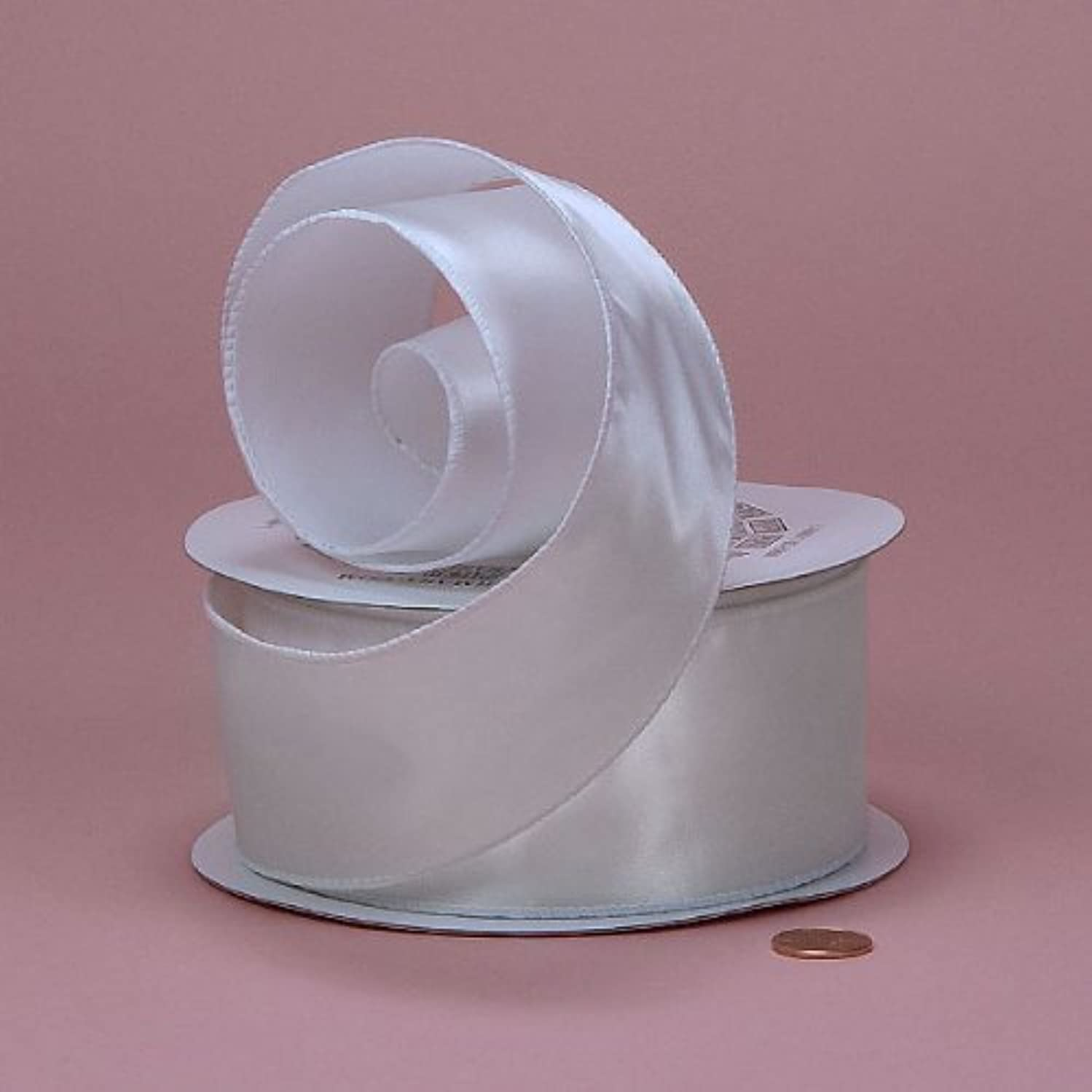 White Cast-Over Wired Satin Ribbon, 4