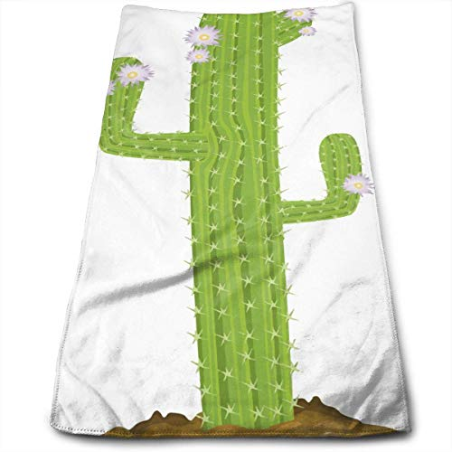Hectwya Toalla de Mano de poliéster Antideslizante Diseño de Cactus de Cola de Rata Toalla Duradera 100% poliéster súper Absorbente