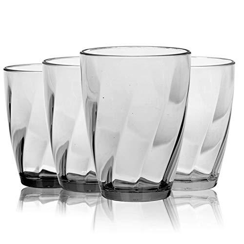 Vasos de plástico – Juego de 4 vasos acrílicos transparentes de 368,5 ml, irrompibles, reutilizables, para lavavajillas de cocina (transparente)